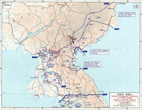 American Forces Retreating in Korea - Map Geography American History Government Cold War