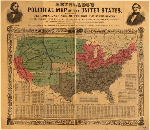 Political Map of the U.S. - Free vs. Slave States, 1850 Geography American History African American History Slaves and Slave Owners