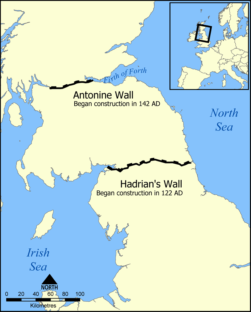 Map Showing Location of Hadrians Wall
