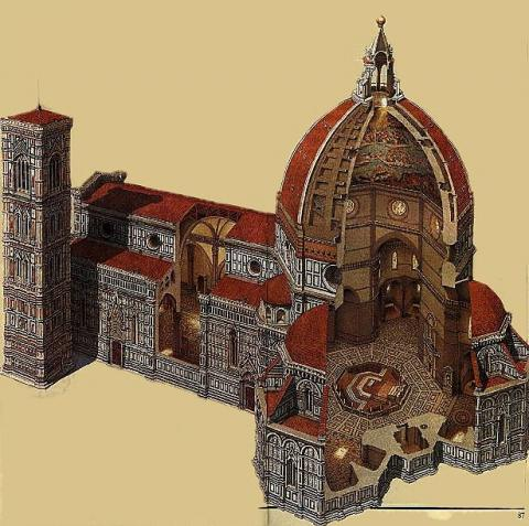 Florence - Cross-Section of Cathedral Dome Medieval Times Philosophy Visual Arts Disasters World History