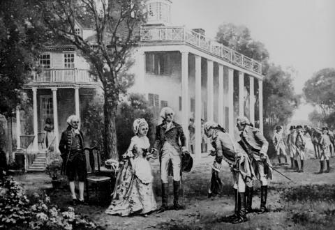Mount Vernon - Washington with French Generals (Illustration) American History American Presidents American Revolution Famous Historical Events Law and Politics Social Studies Visual Arts