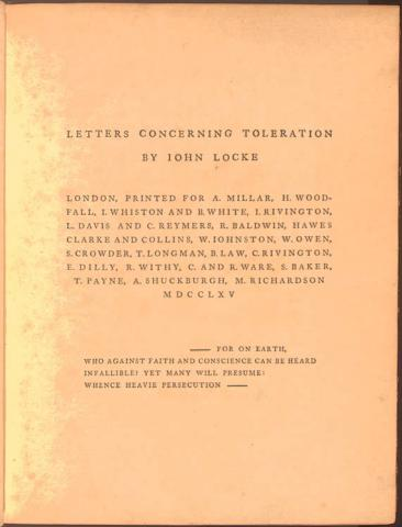 Letters Concerning Toleration - by John Locke Ethics Law and Politics Famous People Social Studies American History