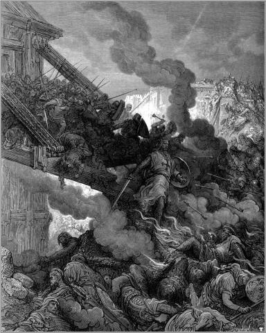 lithograph, by Paul Gustave Dore depicts Godfrey and the Fall of Jerusalem at the first Crusade