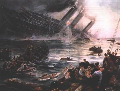 TORPEDO ATTACK on LUSITANIA (Illustration) Famous Historical Events World History Disasters World War I
