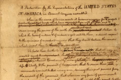 DRAFTING THE DECLARATION (Illustration) American History American Presidents Famous Historical Events Law and Politics Social Studies Revolutionary Wars American Revolution