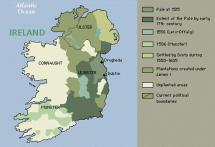 Ireland - Historic Map with Political and Geographical Borders