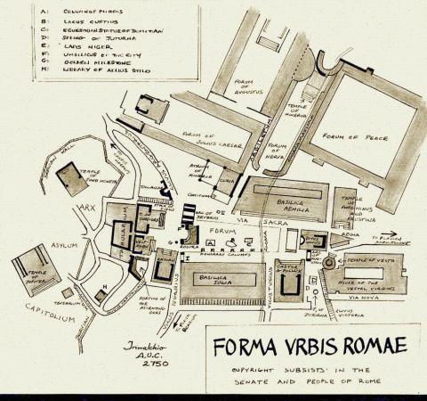Roman Forum - Drawing of the Ancient Site Ancient Places and/or Civilizations Geography