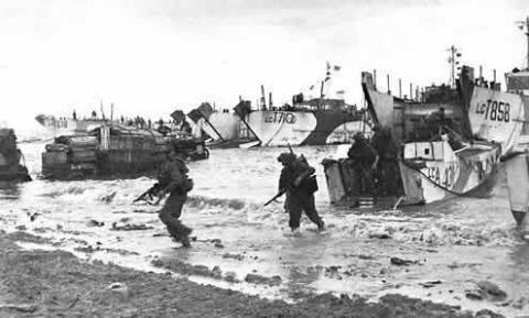 British Troops Landing at Gold Beach Visual Arts Famous Historical Events World War II