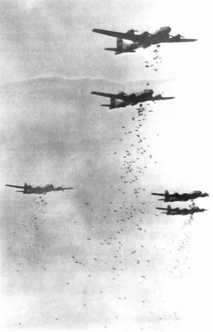 B-29s Dropping Fire Bombs over Japan
