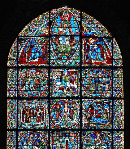 Incarnation Window - 12th Century Glass at Chartres Medieval Times Philosophy Visual Arts