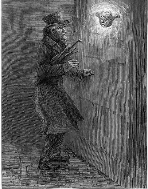 A Christmas Carol Scrooge And Marley.Scrooge Sees Marley S Face In The Door Knocker