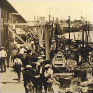 Japanese-American Fishing Village Destroyed at Terminal Island (Illustration) American History Government Law and Politics Social Studies Visual Arts World War II Civil Rights