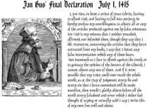 Jon Hus' Final Declaration - July 1, 1415