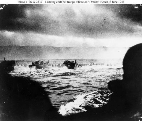 Landing Craft - Troops Go Ashore at Omaha Beach Tragedies and Triumphs Famous Historical Events Visual Arts World War II
