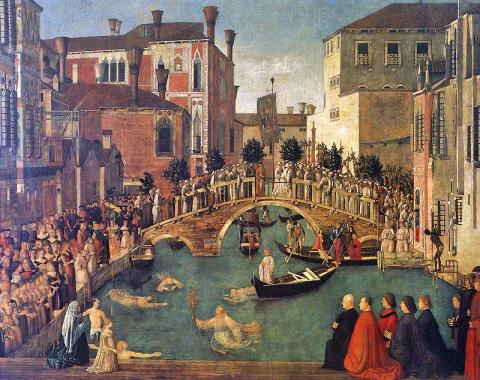 Bellini - Miracle at the Bridge of San Lorenzo, c. 1500 Medieval Times Visual Arts Philosophy World History Geography