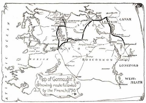 French Route from Connaught - 1798 Irish Rebellion Geography Visual Arts World History Tragedies and Triumphs