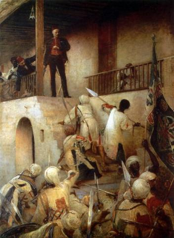 The Siege of Khartoum - Painting (Illustration) Visual Arts Famous Historical Events World History Disasters Victorian Age Nineteenth Century Life