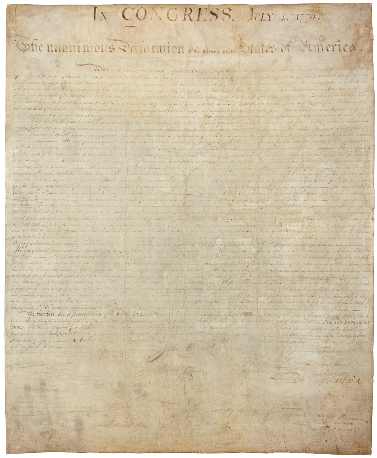 declaration of independence signatures. its now-faded signatures.