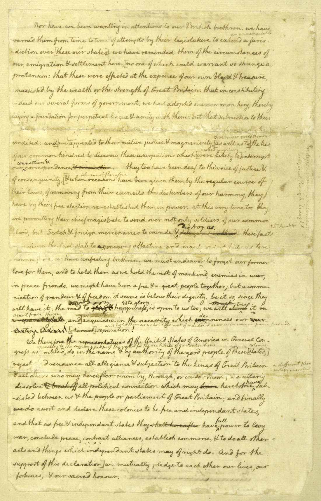 declaration of independence 4th page of manuscript