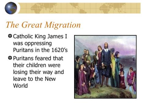 the great migration of puritans history essay The puritan migration to new england was marked in its effects in the two decades from 1620 to 1640, after which it declined sharply for a whilethe term great migration usually refers to the.