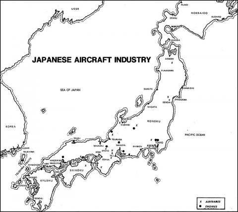 Map of Japanese Engine and Aircraft Plants the U.S. Targeted
