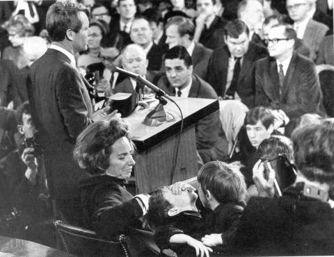 Bobby Delivering a Speech - With Family at His Side Tragedies and Triumphs American History Biographies Famous People Social Studies The Kennedys