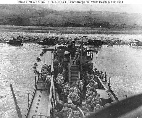 USS LCI - Landing Troops on Omaha Beach Visual Arts Famous Historical Events World War II