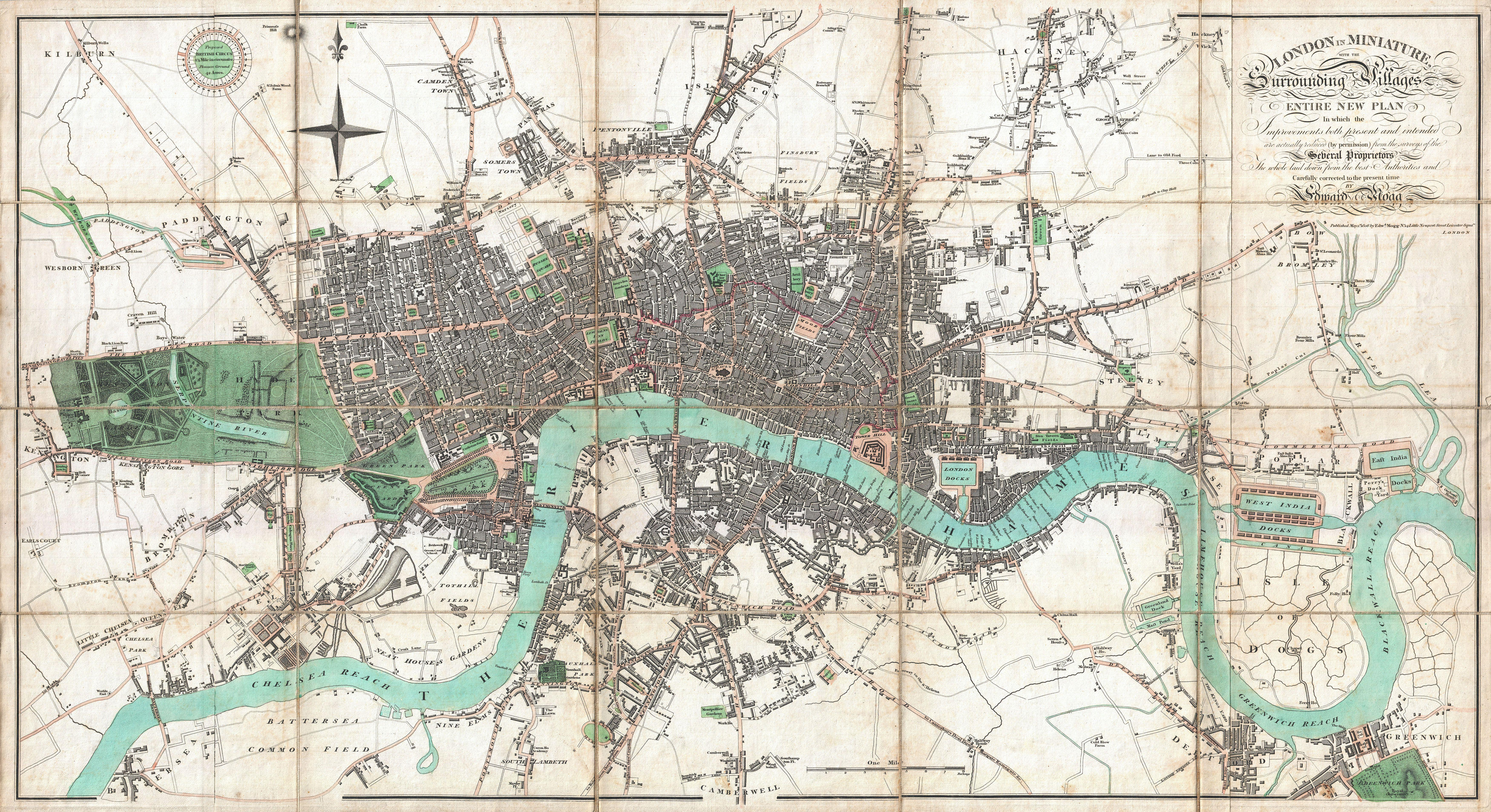 Map Of London In The Early Th Century - Map of us 1806
