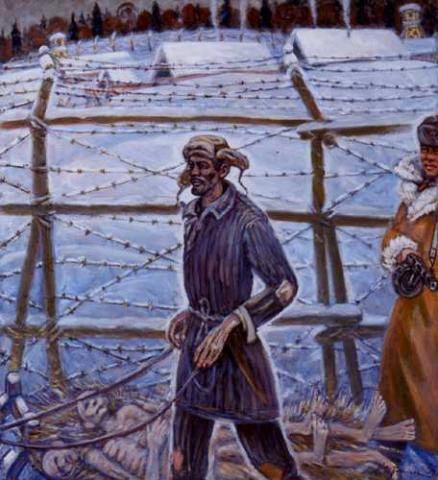 Getman Painting - Dead Prisoners, Tossed in Snow Civil Rights Social Studies Tragedies and Triumphs Visual Arts Disasters