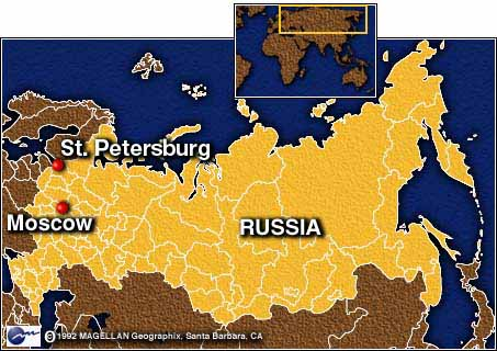 Map Depicting Moscow and St Petersburg
