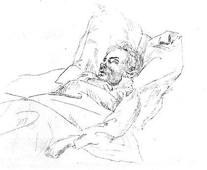 Beethoven on His Deathbed (Illustration) Famous People Music