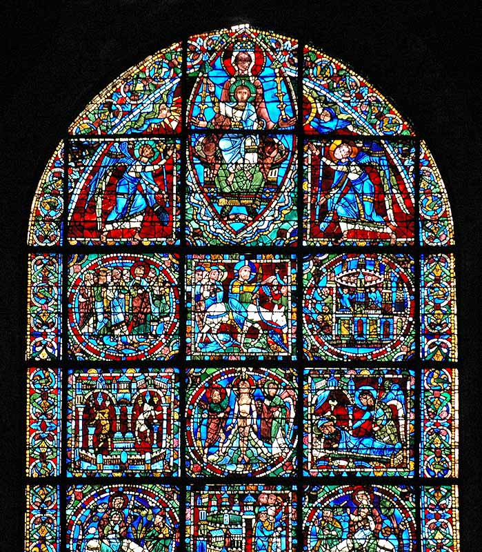 chartres cathedral rose window and lancets incarnation window 12th