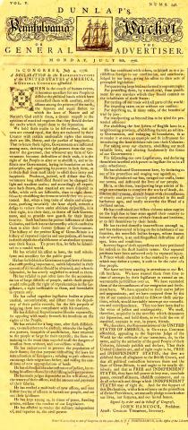 Dunlap's Pennsylvania Packet-July 8, 1776 Article