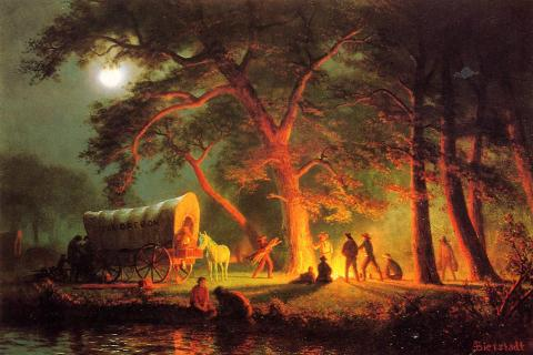 Oregon Trail Campfire - by Albert Bierstadt Native-Americans and First Peoples  World History American History Geography Visual Arts Nineteenth Century Life
