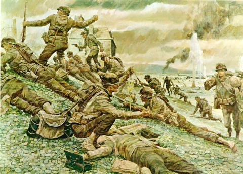 Omaha Beach - First Wave Visual Arts Famous Historical Events Victorian Age World War II