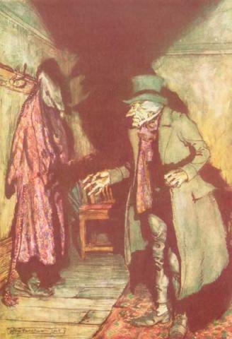 SCROOGE and MARLEY (Illustration) Classics - In Depth Ethics Famous People Nineteenth Century Life Victorian Age Fiction Awesome Radio - Narrated Stories