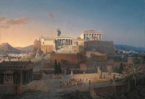 Acropolis - Parthenon with Statue of Athena (Illustration) Philosophy Disasters Ancient Places and/or Civilizations Archeological Wonders Famous Historical Events Geography Social Studies World History