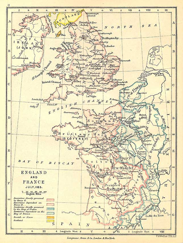 Map Of Britain And France. Britain and France, 1185