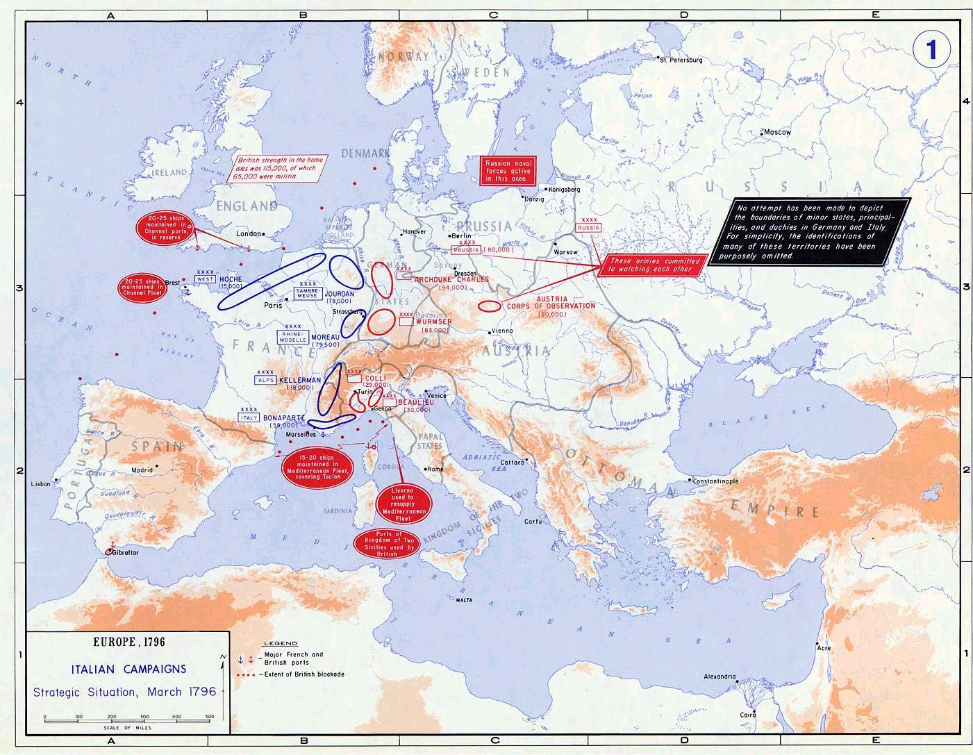 Of Europe The Italian Campaign - Us map 1796