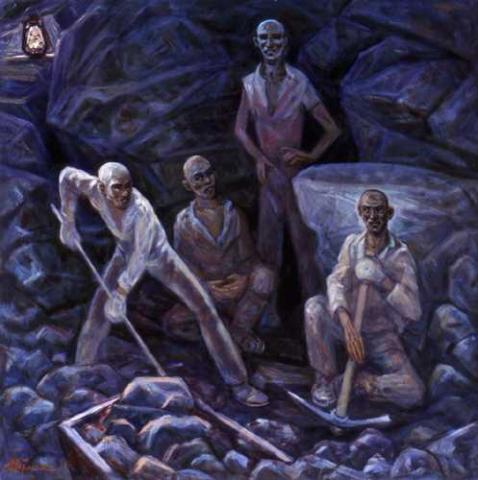 Getman Painting - Working in the Mines History Social Studies Visual Arts Tragedies and Triumphs