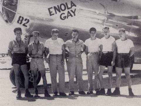 Photograph depicting the air and ground crew of the Enola Gay