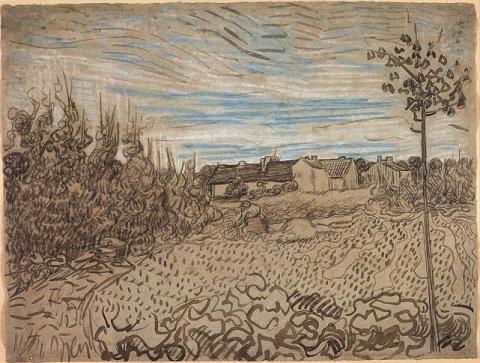 Drawing - Cottages with a Woman Working in the Foreground Visual Arts Famous People Social Studies Nineteenth Century Life