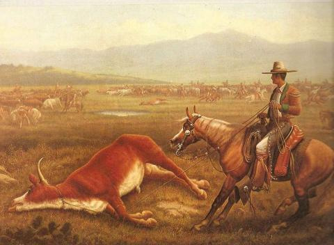 CATTLE in the OLD WEST (Illustration) American History Nineteenth Century Life Geography Legends and Legendary People