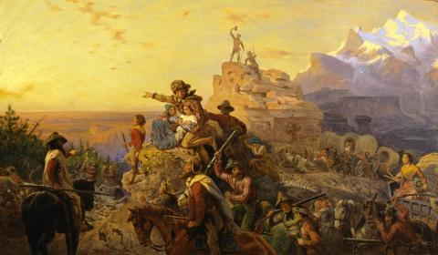 PEOPLE GO WEST (Illustration) Famous Historical Events Government Social Studies Visual Arts Geography Nineteenth Century Life American History