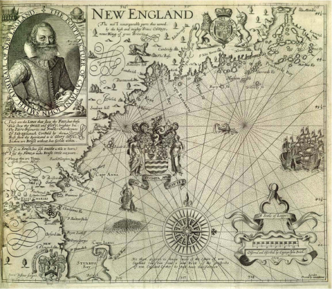 Captain John Smith - First Map of New England American History Visual Arts Geography