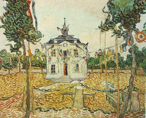 Auvers Town Hall on 14 July 1890 - van Gogh Geography Biographies Famous People Social Studies Visual Arts Nineteenth Century Life
