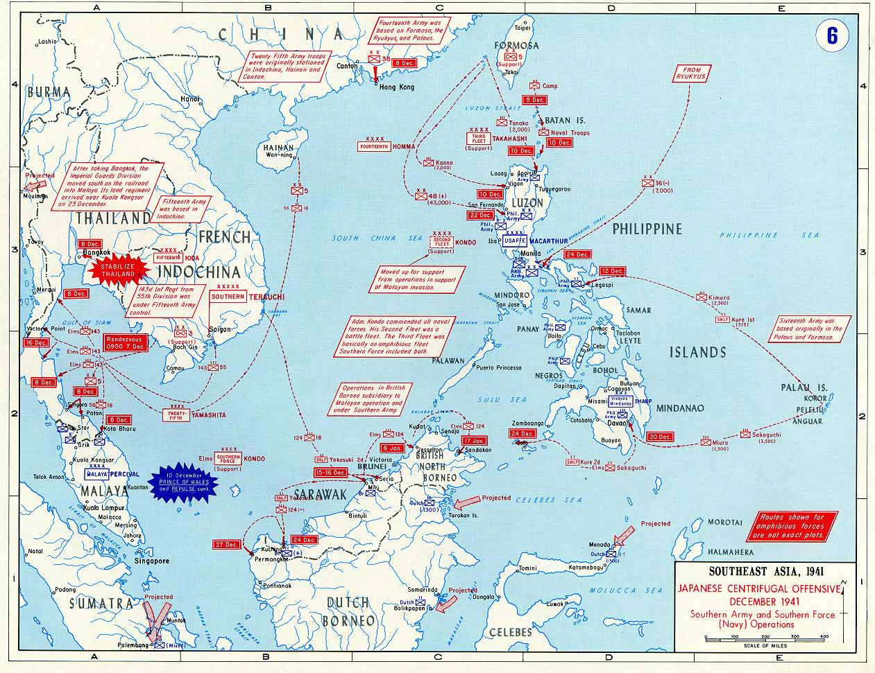 Map showing japanese offensive december 1941 gumiabroncs Image collections