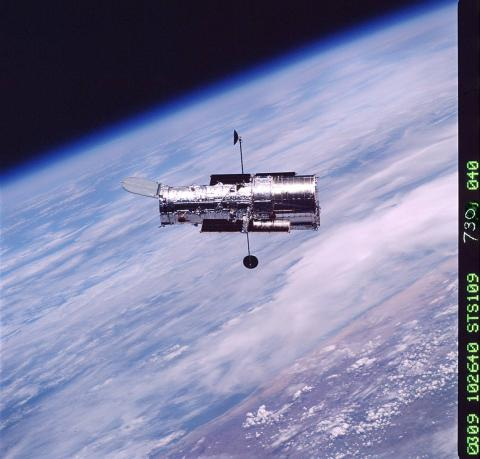 Shuttle View of Hubble Orbiting Telescope Astronomy Aviation & Space Exploration STEM