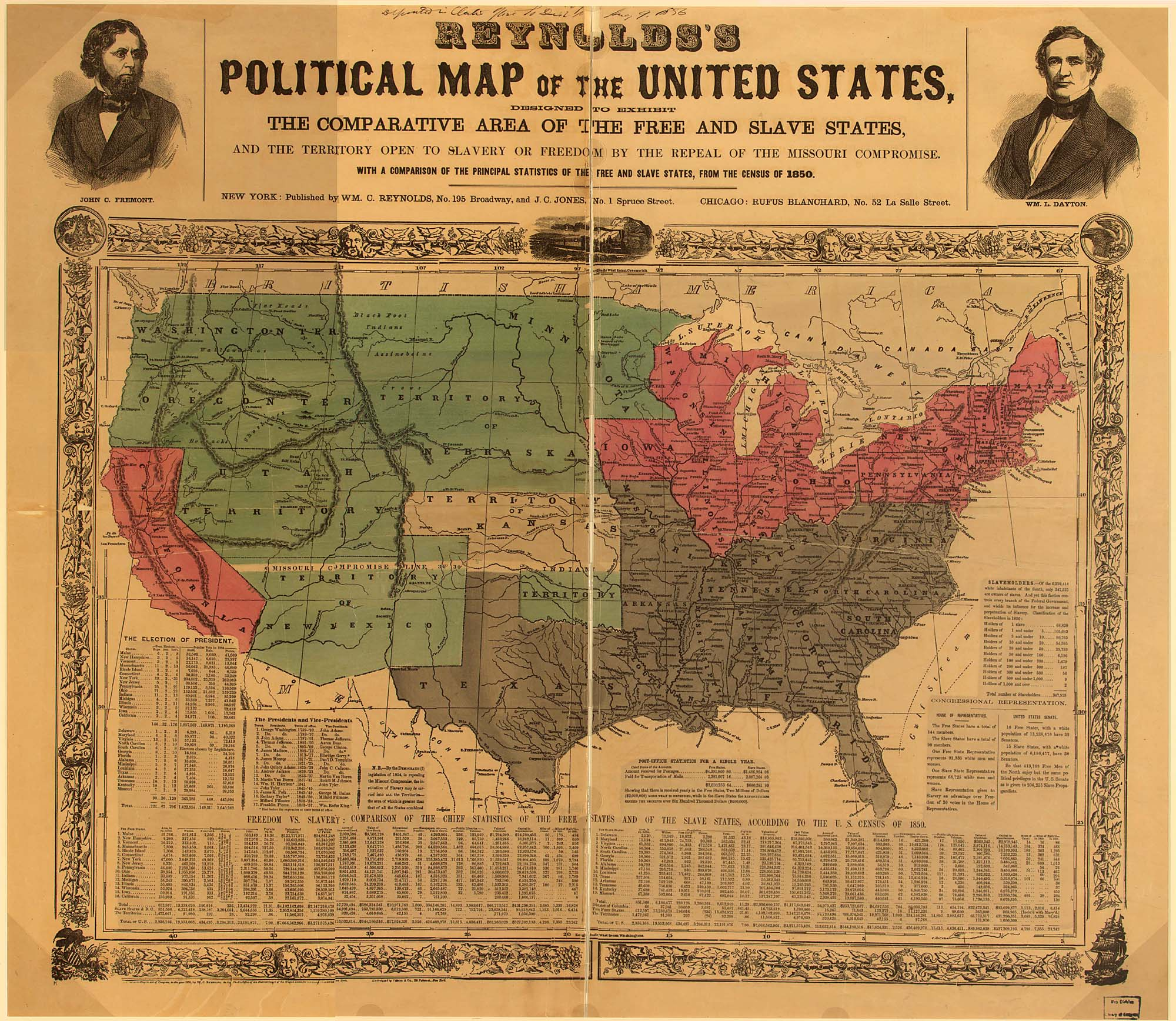 Political Map of the U.S. - Free vs. Slave States, 1850