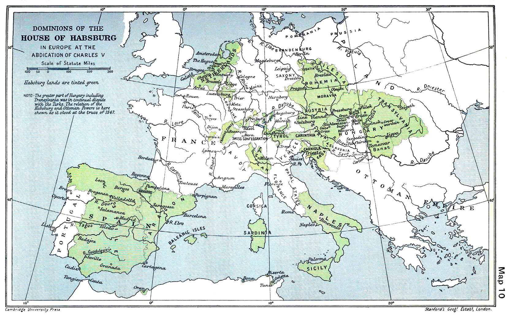 Habsburg (Hapsburg) Empire - European Territory, 1547